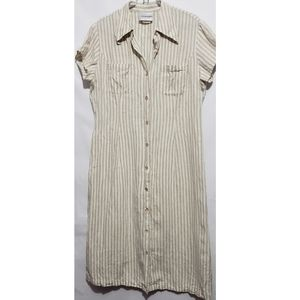 vintage 100% linen tan and cream striped dress